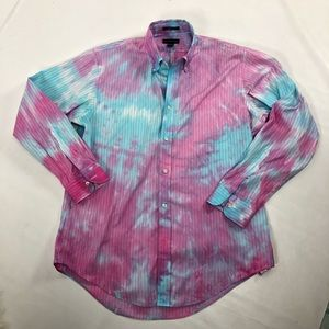 Lands End hand tie dyed pinpoint oxford shirt.